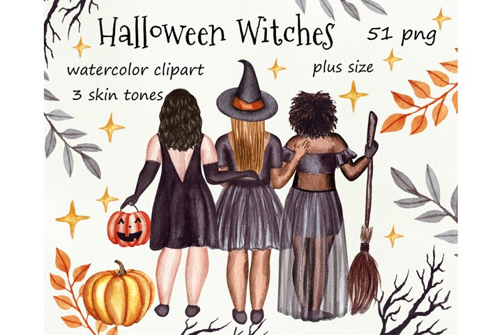 Halloween witches watercolor clipart. Plus size girls png