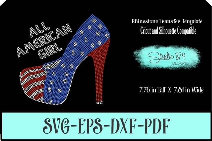 All American Girl Shoe Rhinestone SVG Transfer Template R2