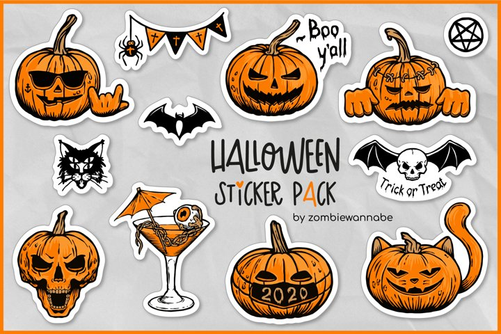 Sticker Bundle - Halloween Sticker Pack, Pumpkin Stickers