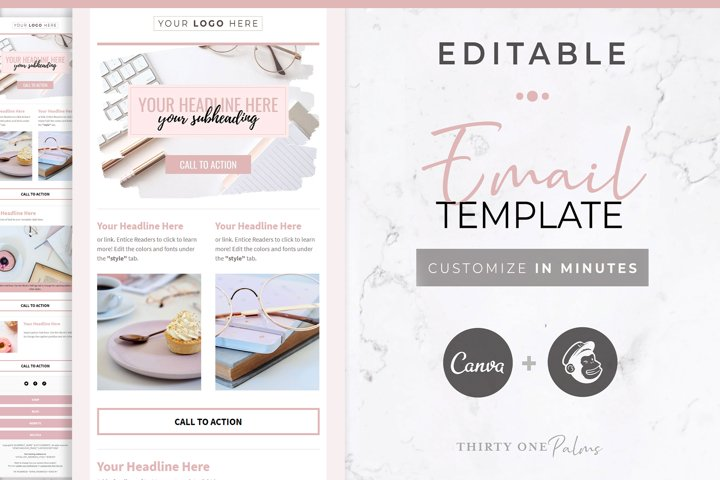 Canva & Mailchimp Template | Blush & Black
