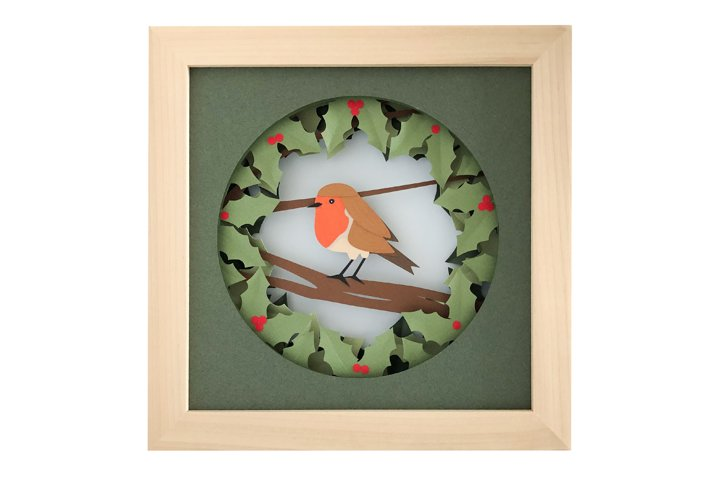 Robin Christmas Shadow Box 3D Papercut Template