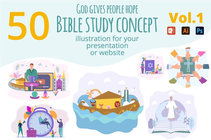 Creative library of 50 illustrations with bible study
