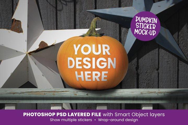 Pumpkin Sticker Mock Up - Halloween Labels
