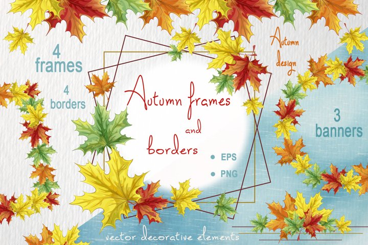 Autumn frames and borders. Vector design.