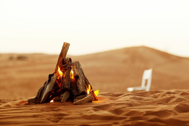 Beautiful bonfire in the desert, rest in the UAE