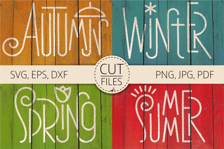 Four Seasons - Autumn, Winter, Spring, Summer Word Art | SVG
