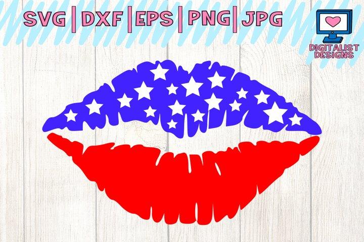 american flag lips svg, lips svg, stars svg, america svg, july 4th svg, dxf, png, cricut, silhouette, svg files, patriotic svg