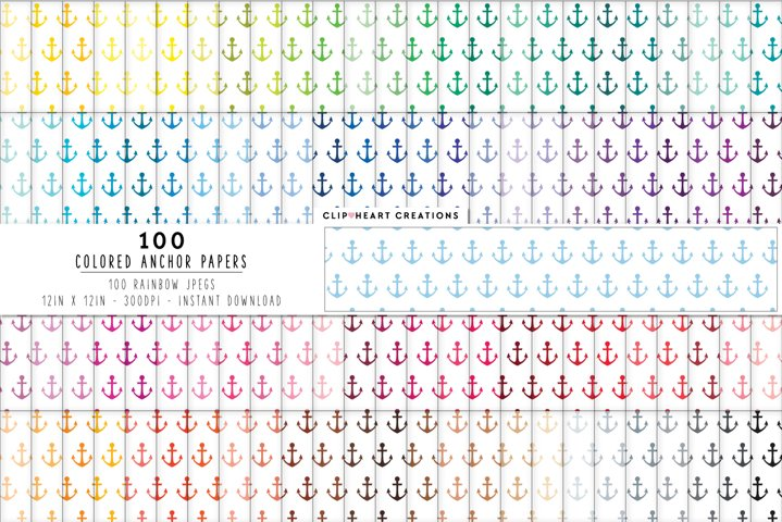 100 Colored Anchor Digital Papers - rainbow colors 12 x 12in