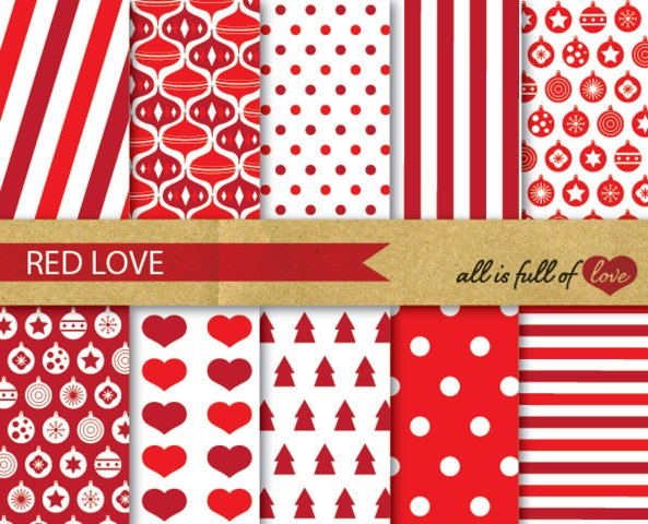 Red Xmas Digital Paper Pack Christmas Background Patterns gift wrapping paper and party decor