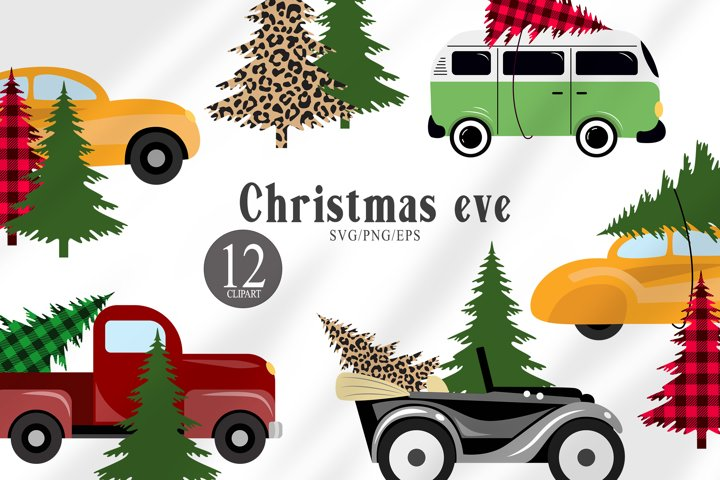 Christmas tree and truck svg clipart. Buffalo plaid print.