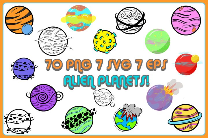 Sci-fi Galaxy Planets and Moons! 70 PNG, SVG, EPS Files