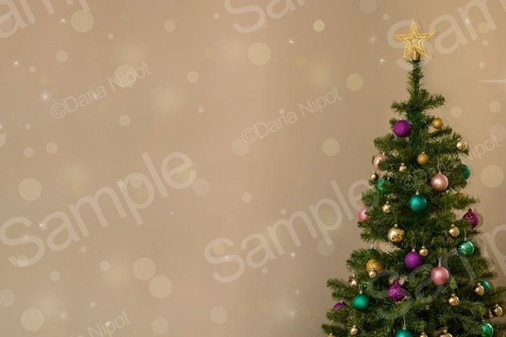 Christmas tree on neutral background with sparkles