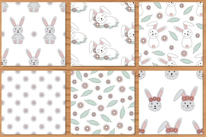 Bunny digital paper, spring seamless patterns