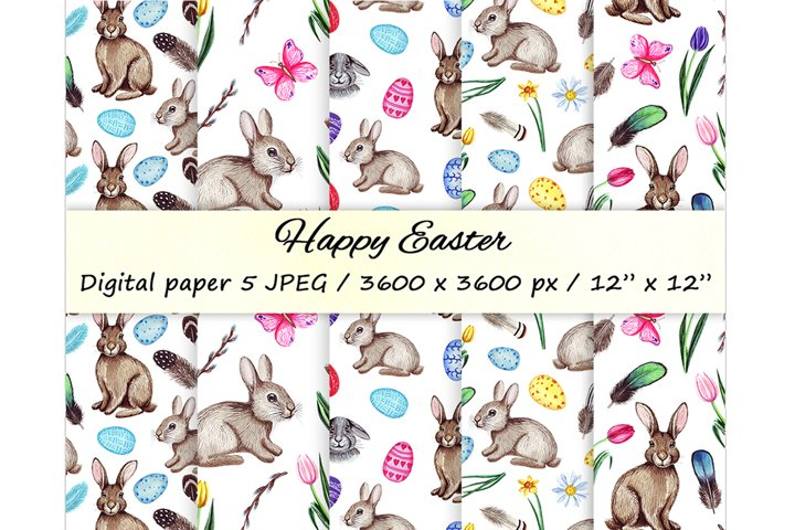 Watercolor Easter seamless patterns