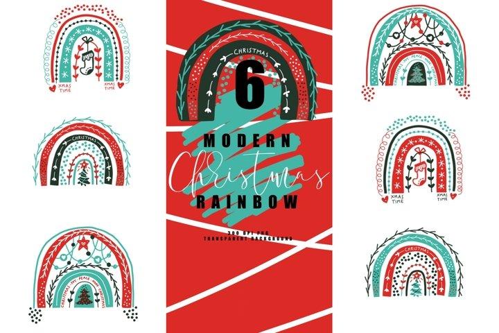 Bundle of 6 modern christmas rainbow, rainbows abstract PNG