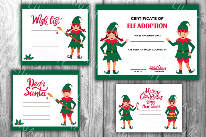Elf Adoption certificate. Cards for Christmas and New Year