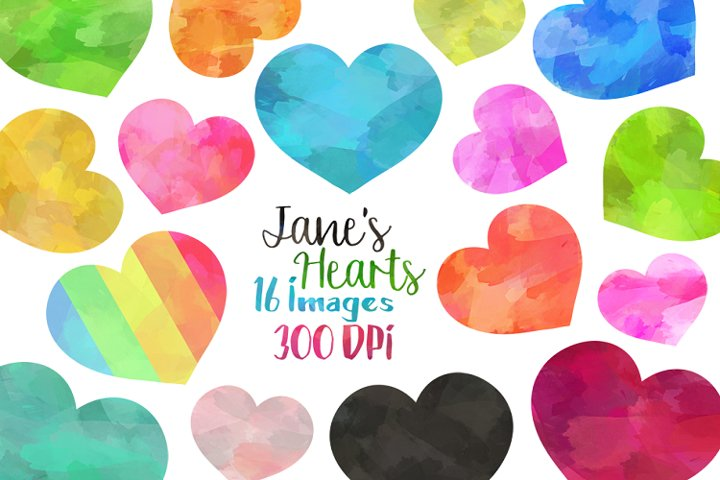 Watercolor Hearts Clipart