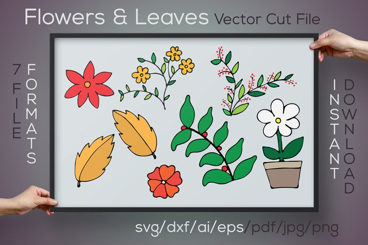 Flowers and Leaves SVG Cut File for Crafters and Makers