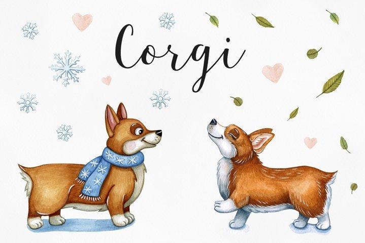 Happy Corgi. Watercolor illustrations set funny dog.