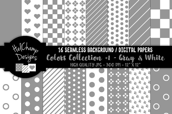 16 seamless Digital Papers - Gray and White - HC106