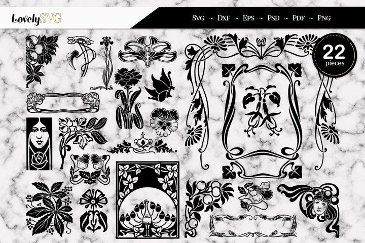 Vintage Art Nouveau Flora and Frames, SVG Cut Files