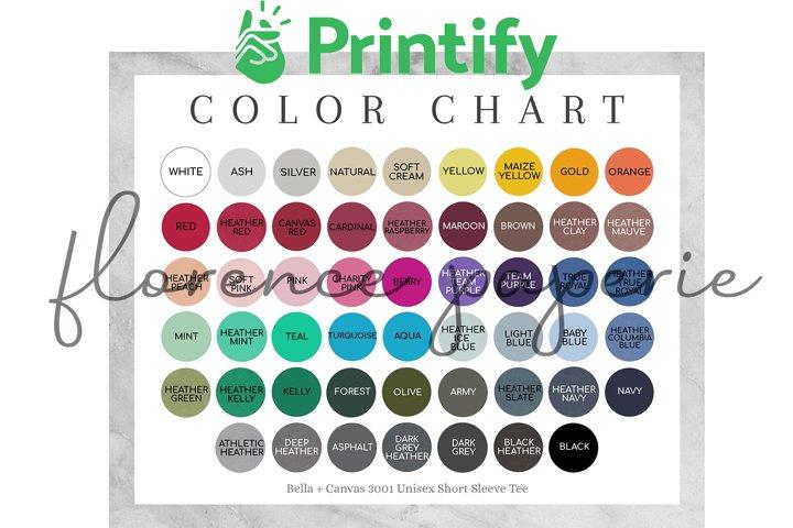 Printify Bella Canvas 3001 Color Chart