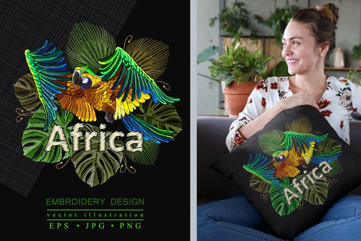 Embroidey tropical parrot