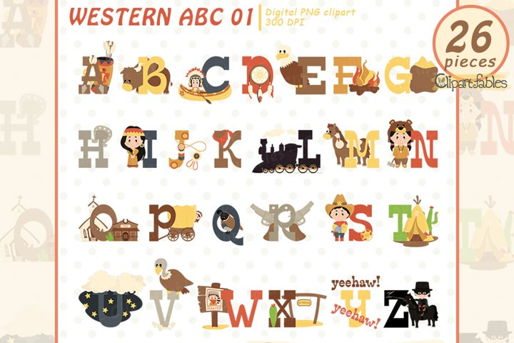 Cute WESTERN clipart, English ALPHABET, Child education