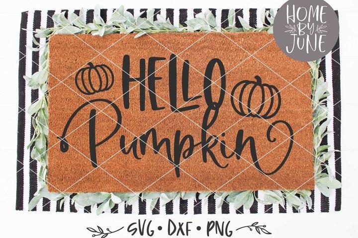 Hello Pumpkin Halloween Doormat SVG DXF PNG
