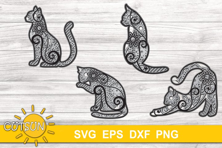 3D Layered Cat Mandala SVG Bundle