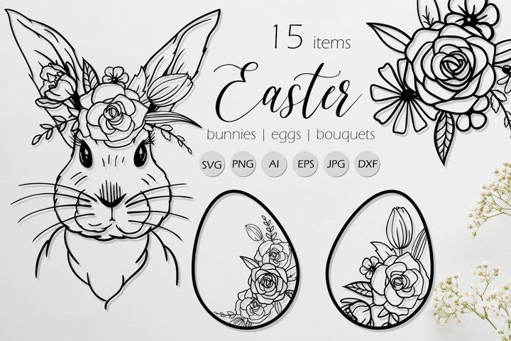Easter Line Art Bunnies, Eggs, Flowers SVG