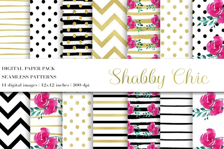 Digital Paper, Flower Digital Paper,Shabby Chic Paper