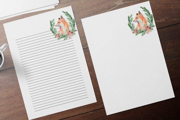 Watercolor Cute Fox Stationery, Winter Fox Journal Paper