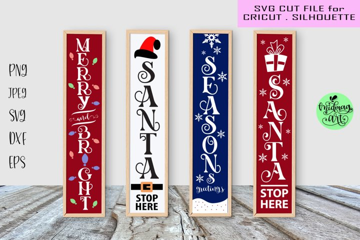 Christmas porch sign svg bundle, merry and bright sign