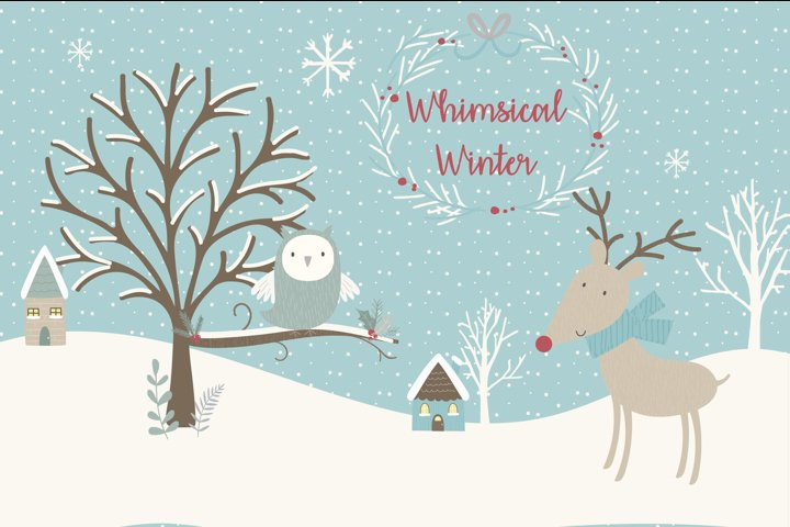 SALE NOW ONLY $4- Whimsical Winter clipart and paper set