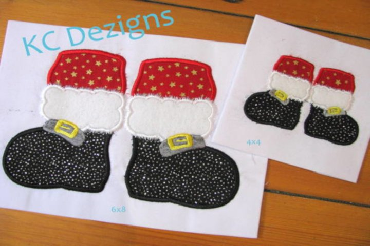 Santa Feet Machine Applique Embroidery Design