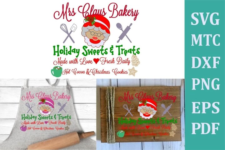 Mrs Claus Bakery Christmas Sign #01 SVG Cut File