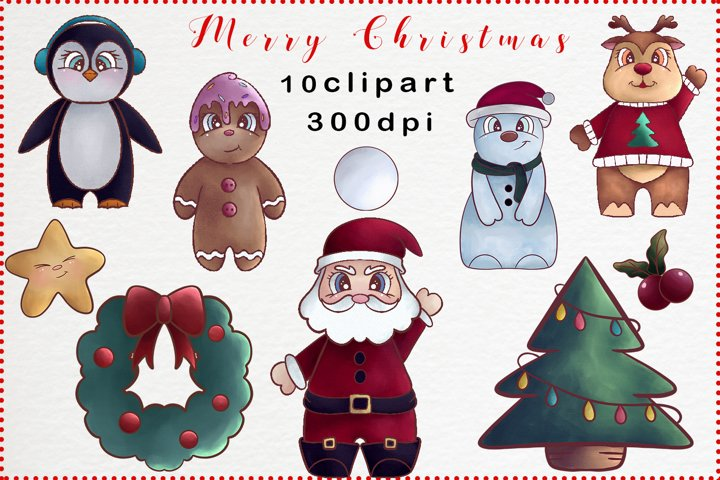 Merry Christmas Clipart Cute Graphic Set
