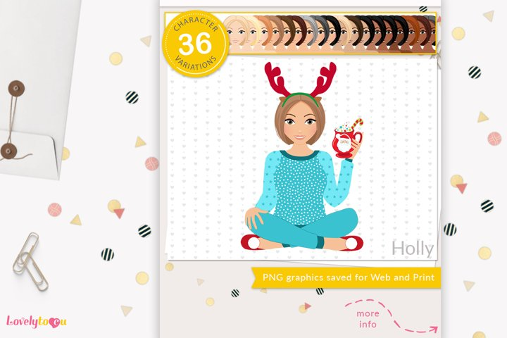 Christmas woman character clipart LVH10 Holly