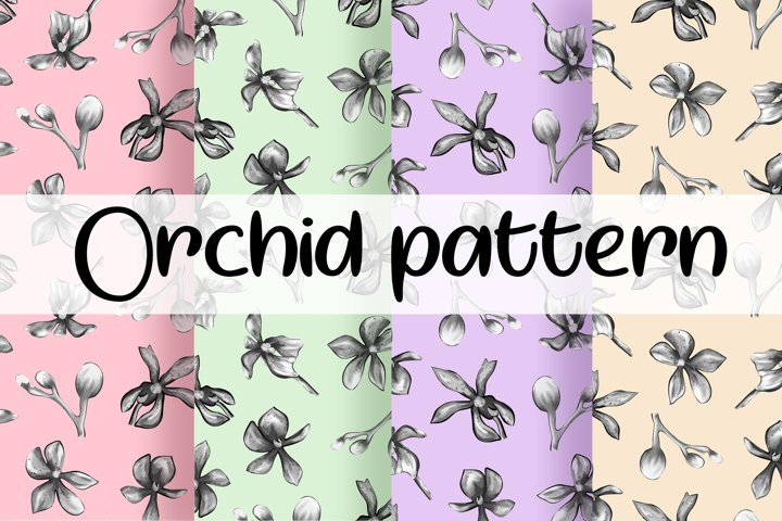 Orchid pattern,Floral Digital paper,Botanical pattern SVG