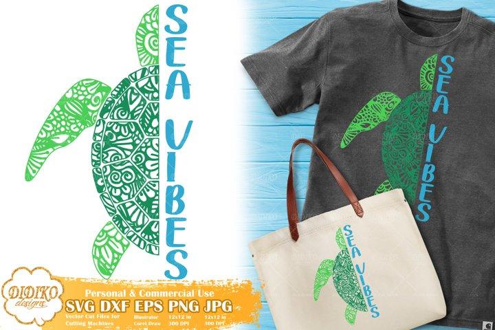 Turtle SVG | Zentangle SVG | Mandala Animal |Beach Quote SVG