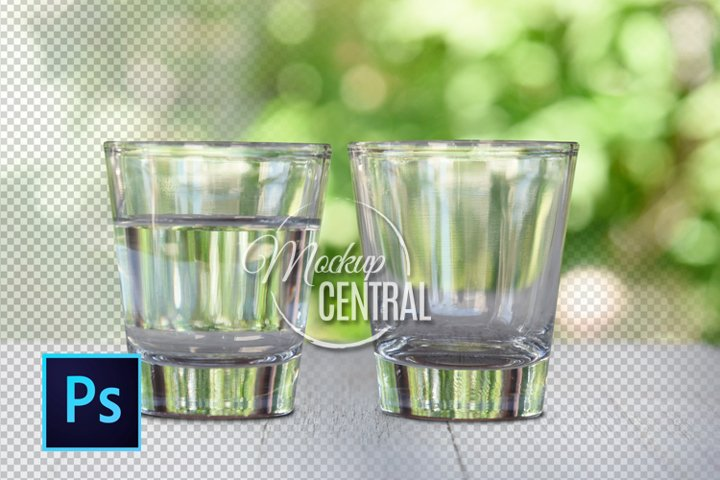 Two Shot Glass Cups Mockup Photo, Party, Couple Glasses PSD