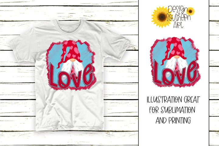 Sublimation Valentine Love Gnome PNG Design