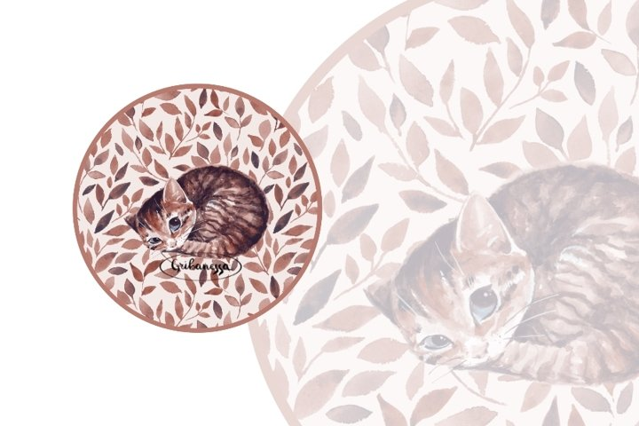 Sleepy cat. Illustration and pattern