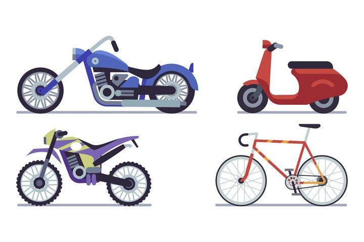 Set of moto bike. Bicycle, scooter, cross bike and chopper v