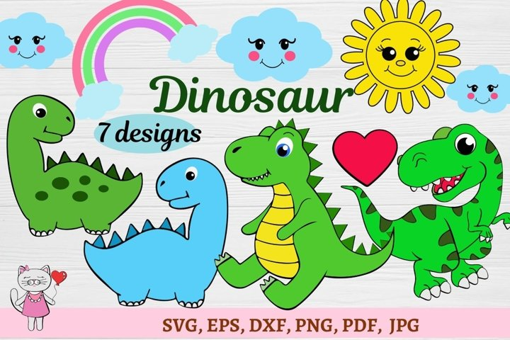 Set Dinosaurs SVG cut files for crafters,PNG, Eps, Dxf