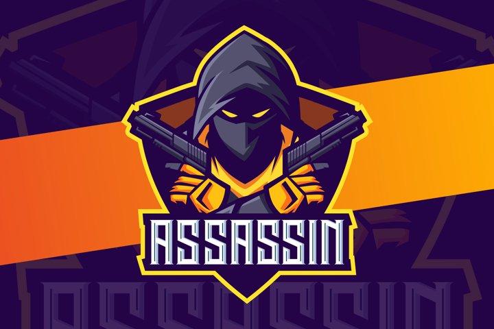 Assassin mascot esport logo design with gun