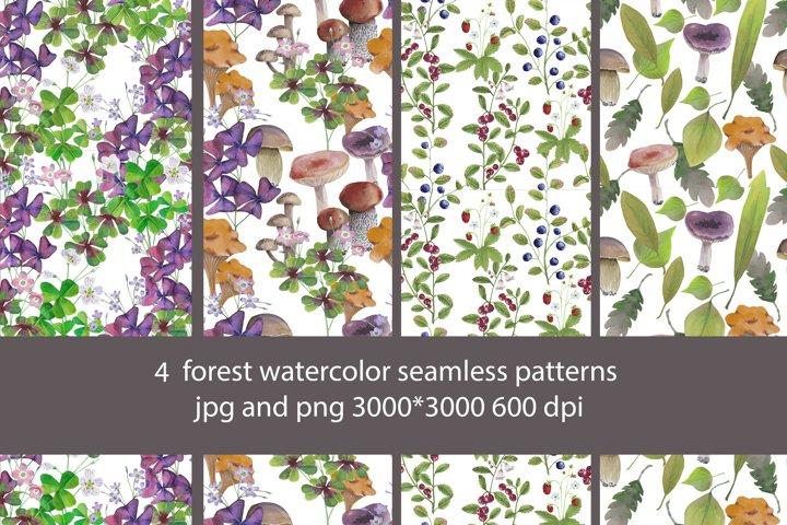 4 forest watercolor seamless patterns