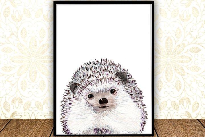 Watercolor Hedgehog digital print Woodland Nursery Art