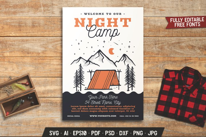 Summer Night Camping Flyer SVG Template Adventure Card DXF